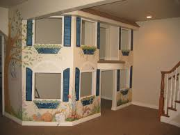 basement playroom design ideas with gray carpet flooring and toys