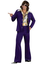 Pimp Halloween Costume Purple Leisure Suit 1970s Mens Costumes Halloween Costumes