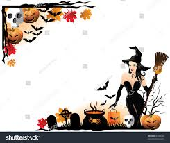 witch corners decorative corner borders halloween stock vector