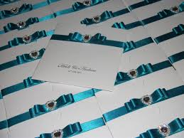 crystal love with teal ribbon crystal couture luxury wedding