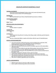 Basketball Coach Resume Sample by Assistant Basketball Coach Cover Letter Resume Templates