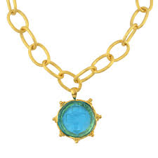 glass cross necklace images Susan shaw aqua venetian glass cross intaglio on gold plated chain jpg