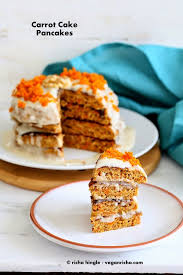 vegan carrot cake pancakes with yogurt coconut cream frosting