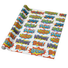 comic wrapping paper word comic wrapping paper zazzle