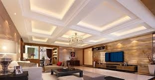 Decorative Ceilings Modern Living Room Plaster Ceiling Design Hidden Lights Minimalist