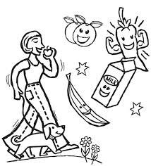 the eat healthy food coloring page kids coloring pages