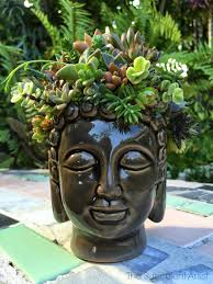 inspire bohemia buddha head succulent planter