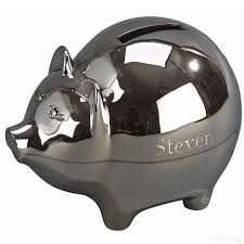 personalized silver piggy bank adorable polished engraveable silver piggy bank large by