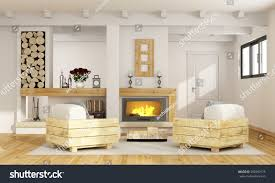 rustic room fireplace two pallet armchair stock illustration