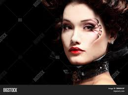 woman beautiful halloween vampire baroque aristocrat over black