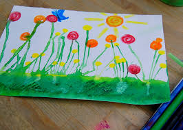 watercolor flower garden paint grass first use straw to blow