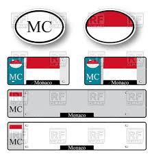 template of car plate number with flag of monaco and oval car