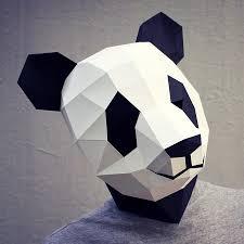 waste paper head diy paper panda mask noveltystreet