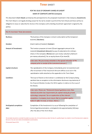 One Sheet Template Term Sheet Template Word