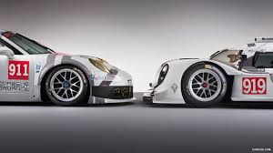 porsche hybrid 911 2014 porsche 911 rsr type 991 and porsche 919 hybrid side hd