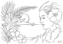 fantastic hawaiian flower coloring pages with hawaii coloring