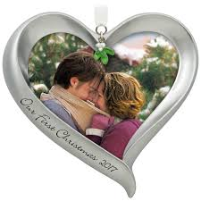 our first christmas loving heart picture frame ornament keepsake
