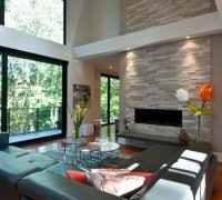 electric fireplace in basement living room contemporary with high