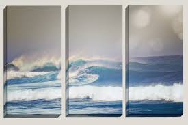 Surf Home Decor by Triptych Ocean Decor Canvas Art Photography Ocean Waves