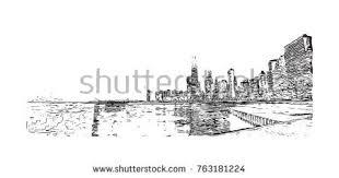 new york city skyline sketch handdrawn stock vector 585852449