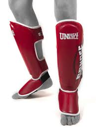 sandee cool tech shin guards red white