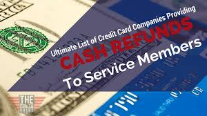 13 credit card companies that provide cash refunds to service