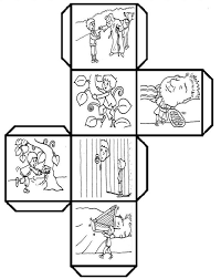 have students color cut fold and paste to make a story cube