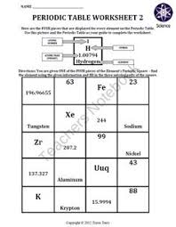 periodic table worksheet answers google search atoms elements