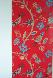 modern red home decor wallpaper bird motifs that seems elegant by