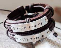 His And Hers Engraved Bracelets Personalized Couples Bracelets Etsy