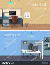 set workplace horizontal web banners flat stock vector 519380260