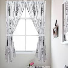 and white tree silhouette print fabric bathroom window curtain set