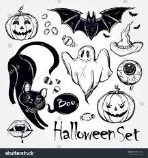 set different halloween characters animals objects stock vector