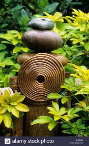 Fung Shwai by Garden Sculpture With Bamboo Post Feng Shui Copper Spiral And