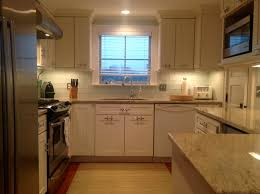 traditional frosted white glass subway tile kitchen backsplash