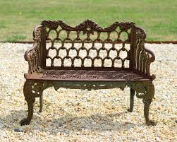 small painted cast iron rose garden bench