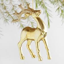 gold and silver glittered stag ornaments set of 4 world market