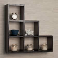decor dark wood wall mounted shelves with wood chairs and woood
