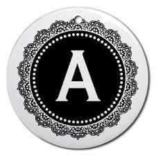 letter a ornament letter a black white medalli