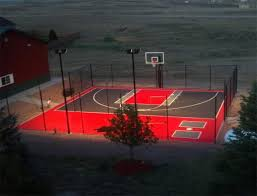 Backyard Sport Court Cost by Backyard Basketball Court And Batting Cage Landscaping