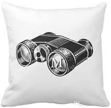 pillow case binoculars vintage illustration monogram o square