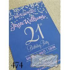 silver glitter confetti blue pink 21st birthday invitation