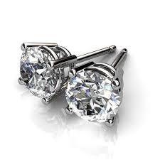 mens studs 14kt white gold four prong diamond stud earrings union diamond mens