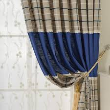 Blue And Beige Curtains Blue Beige Cotton Linen Plaid Curtains For Boys Bedroom