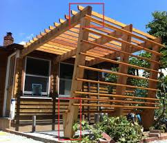 Span Tables For Pergolas by Mount Pergola Post At An Angle Home Improvement Stack Exchange