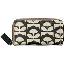 bloom wallet orla kiely tiny bloom big zip wallet charcoal