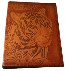 leather memory book personalized tooled tiger leather memory book album