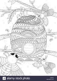 bee flies around honeycomb coloring page stock vector art