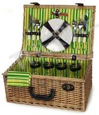 Wine Picnic Baskets Wicker Picnic Basket For 4 Wine Glass Plates Utensils Outdoor