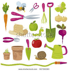 sympathetic gardening tools vegetables vector icons stock vector